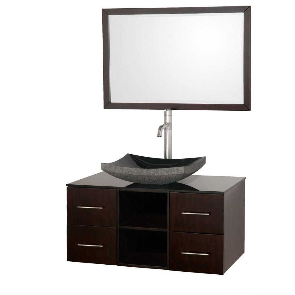 Abba 36-inch W 4-Drawer Wall Mounted Vanity in Brown With Top in Black With Mirror