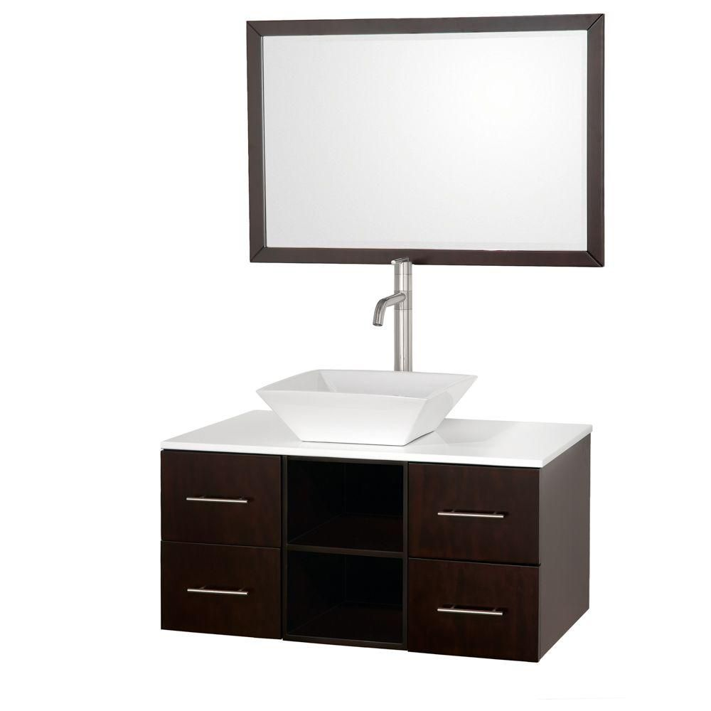 Wyndham Collection Abba 36-inch W 4-Drawer Wall Mounted Vanity in Brown With Artificial Stone Top in White