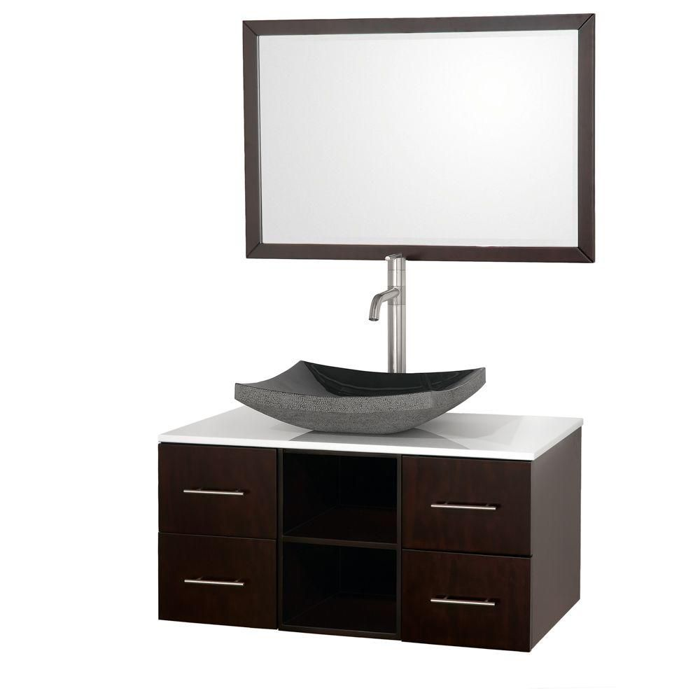 Abba 36-inch W Vanity in Espresso with Stone Top in White and Mirror