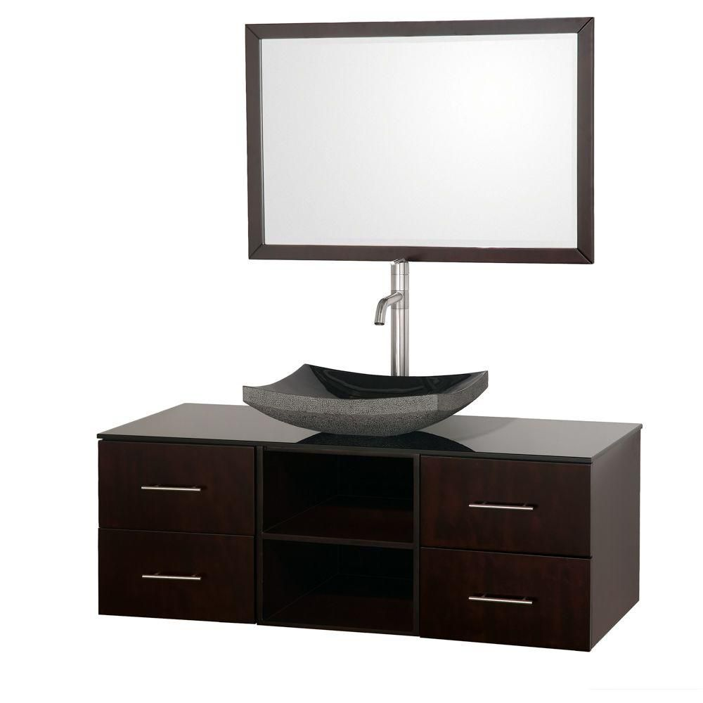 Abba 48-inch W Vanity in Espresso Finish with Glass Top in Black and Mirror
