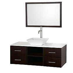 Wyndham Collection Abba 48-inch W 4-Drawer Wall Mounted Vanity in Brown With Artificial Stone Top in White
