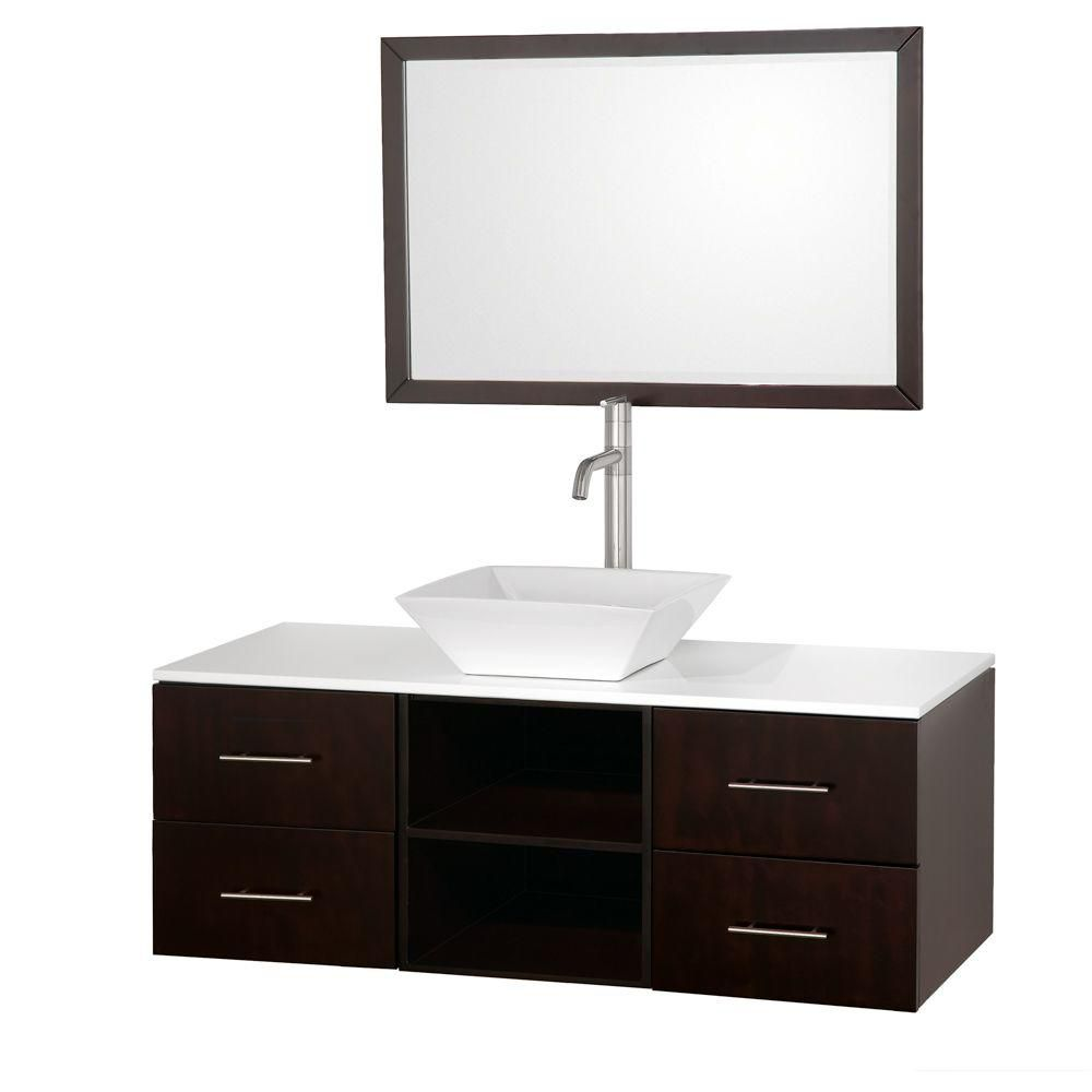 Abba 48-inch W Vanity in Espresso Finish with Stone Top in White and Mirror