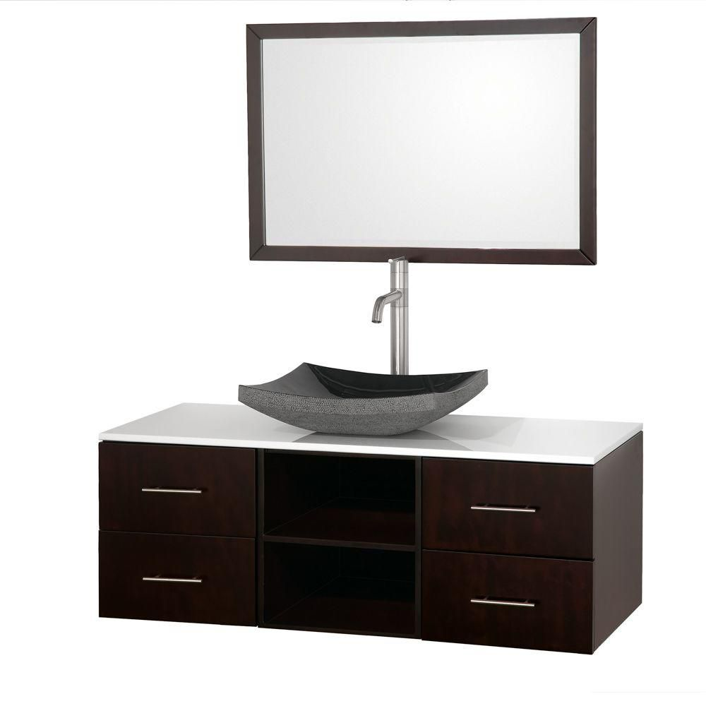 Abba 48-inch W Vanity in Espresso with Stone Top in White and Mirror