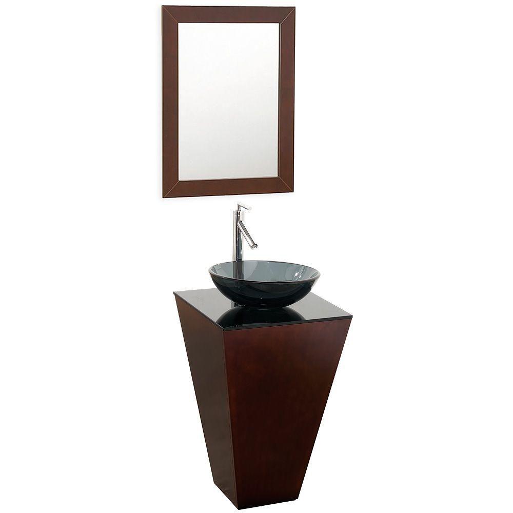 Esprit 20 po Meuble espresso avec revêtement en verre noir et évier style fumé et miroir