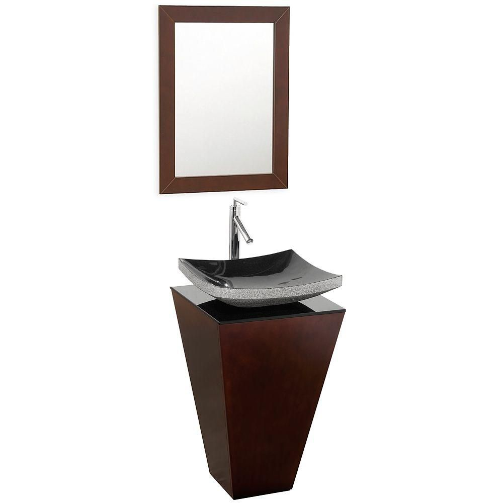 Esprit 20-inch W Vanity in Espresso Finish with Glass Top in Black and Mirror