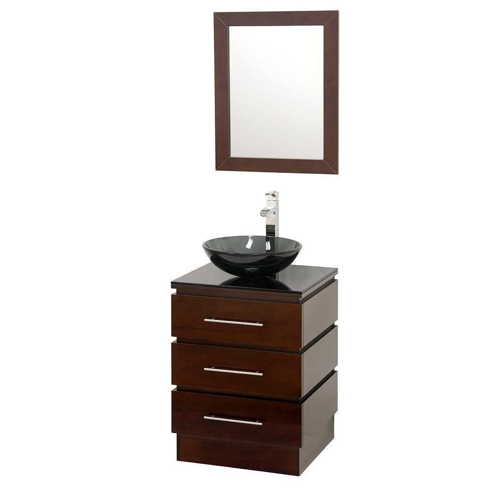 Rioni 22 1/4-inch W Vanity in Espresso with Glass Top in Black and Mirror