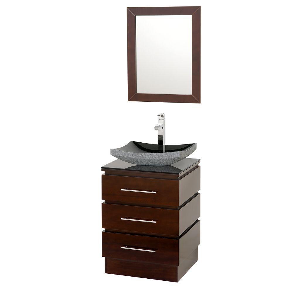 Rioni de 22-1/4 po Meuble espresso avec revêtement en verre noir et miroir