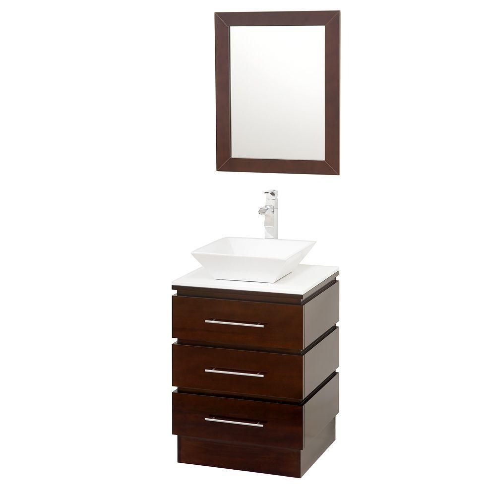 Rioni 22 1/4-inch W Vanity in Espresso with Stone Top in White and Mirror