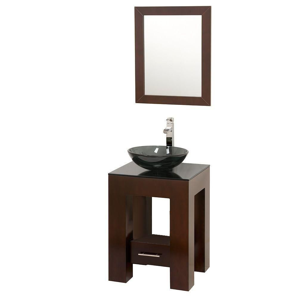 Amanda 22-inch W Vanity in Espresso with Glass Top in Smoke and Glass Sink