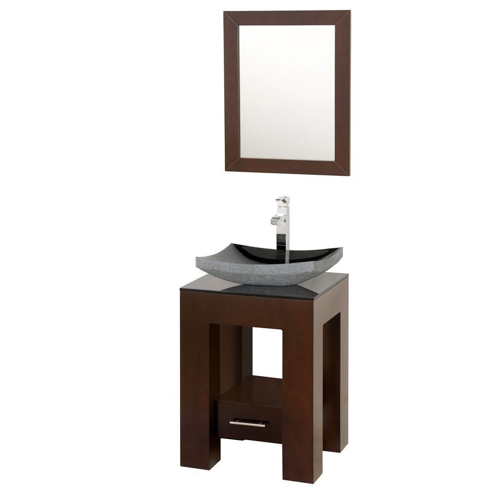 Amanda 22 1/4-inch W Vanity in Espresso with Glass Top in Black and Mirror