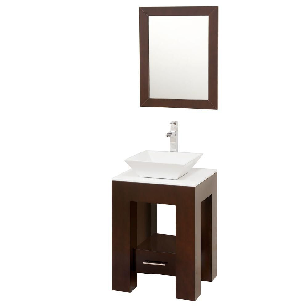 Amanda 22 1/4-inch W Vanity in Espresso Finish with Stone Top in White and Mirror
