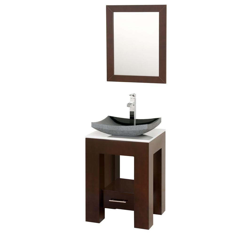 Wyndham Collection Amanda 22-inch W 1-Drawer Vanity in Brown With Artificial Stone Top in White With Mirror
