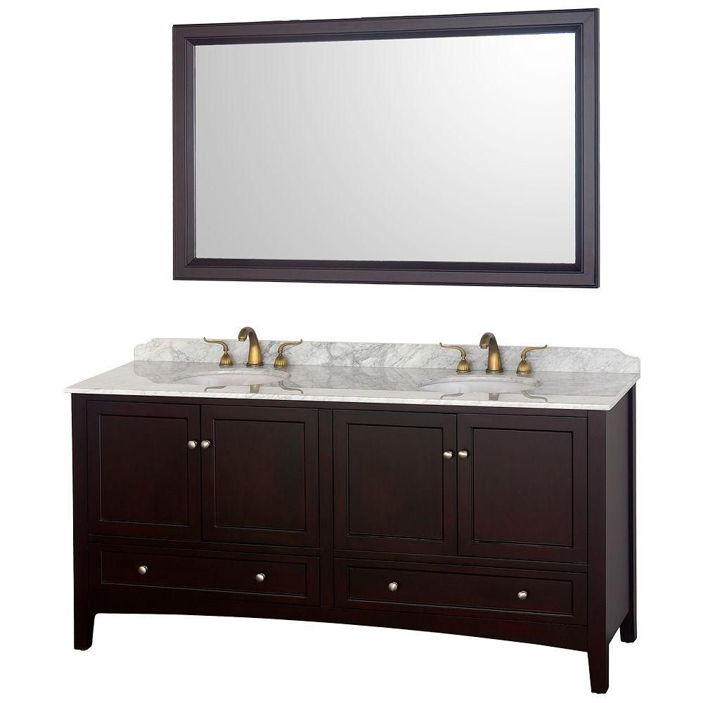 Wyndham Collection Audrey 72-inch Vanity in Espresso with Double Basin Marble Vanity Top in Carrera White and Mirror