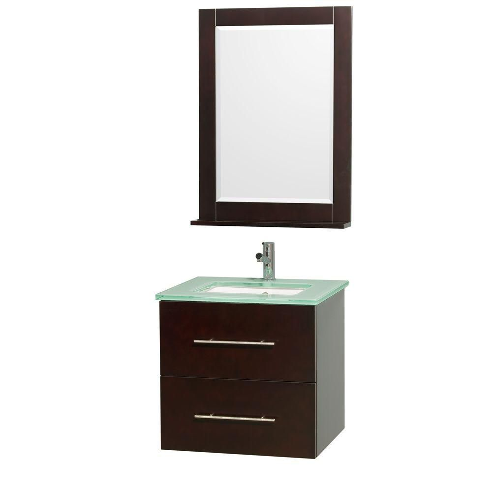 Centra 24-inch W Vanity in Espresso with Glass Top in Aqua and Square Porcelain Sink