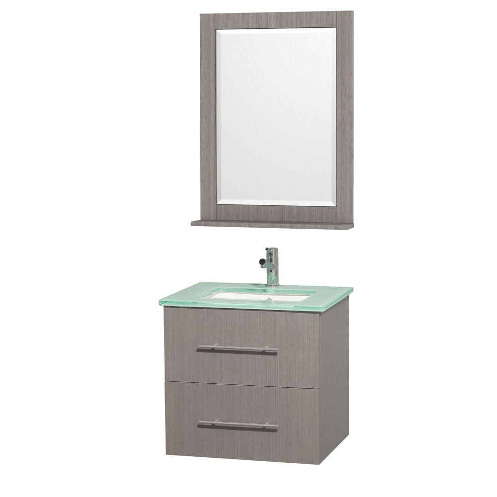 Centra Vanity in Grey Oak Finish with Glass Top in Aqua and Square Porcelain Sink