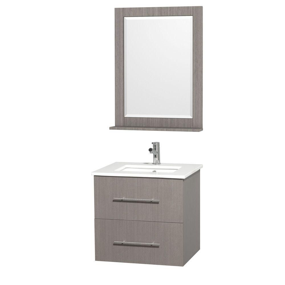 Centra Vanity in Grey Oak with Stone Top in White and Square Porcelain Undermount Sink
