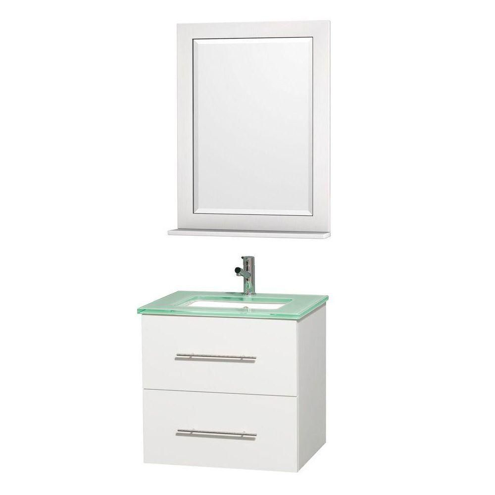 Centra 24-inch W Vanity in White Finish with Glass Top and Square Porcelain Sink
