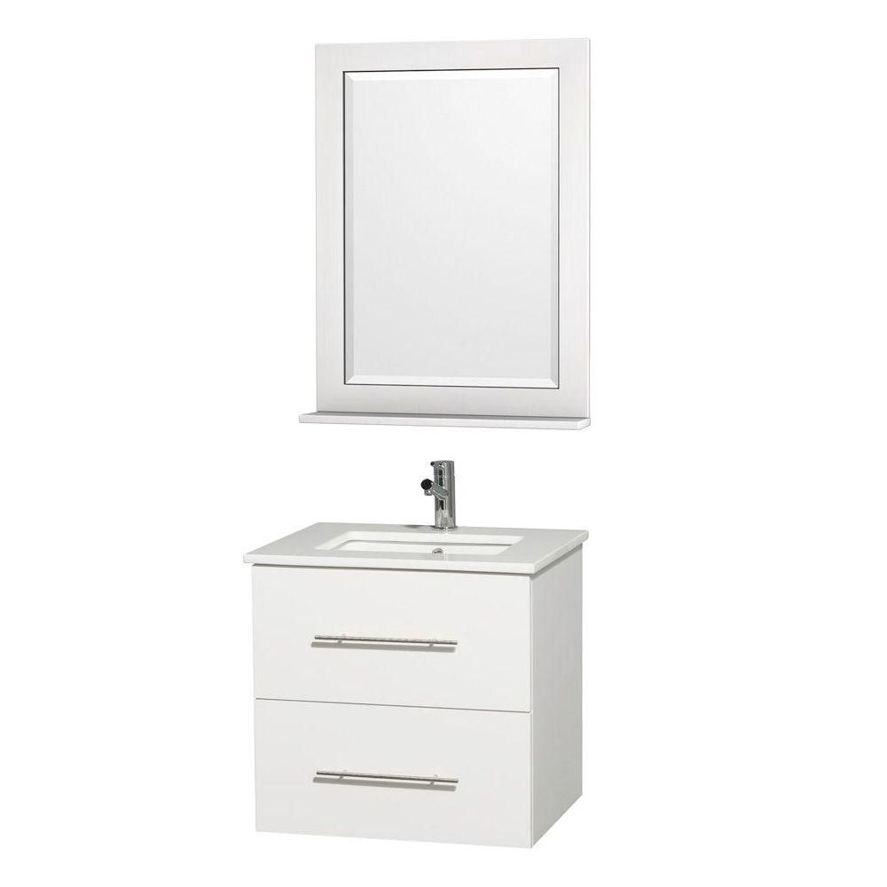 Centra Vanity in White Finish with Stone Top in White and Square Porcelain Sink