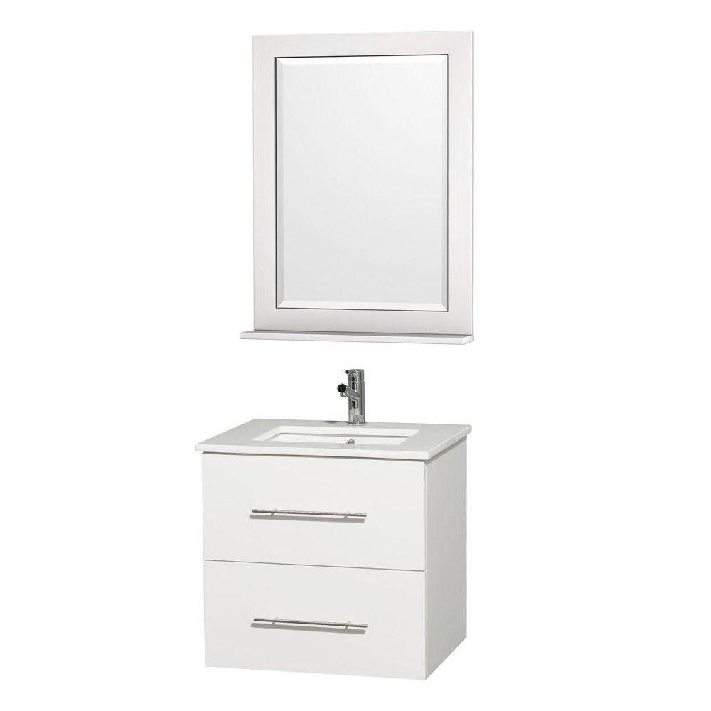 Meuble Centra blanc et revêt. blanc pierre artificielle et évier carré en porcelaine sous comptoi...
