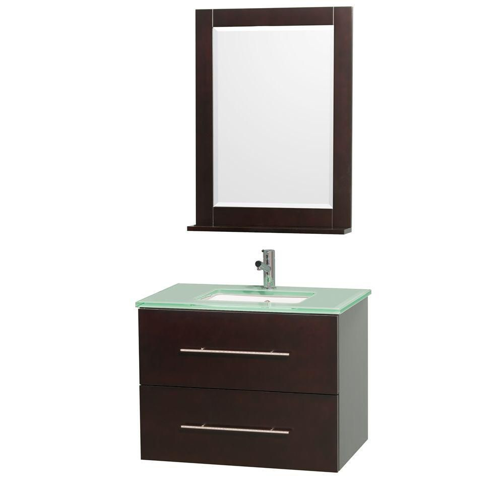 Centra 30-inch W Vanity in Espresso with Glass Top in Aqua and Square Porcelain Sink
