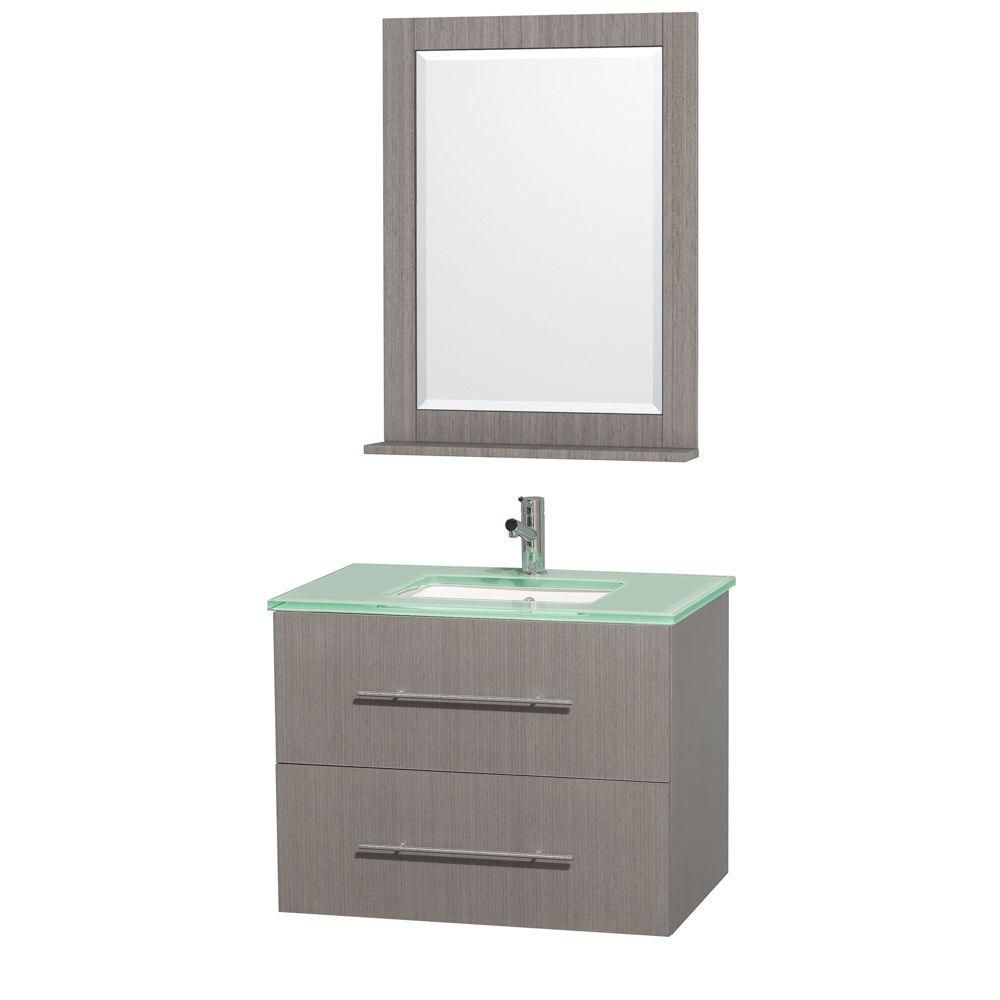 Centra 30-inch W Vanity in Grey Oak with Glass Top in Aqua and Square Porcelain Sink