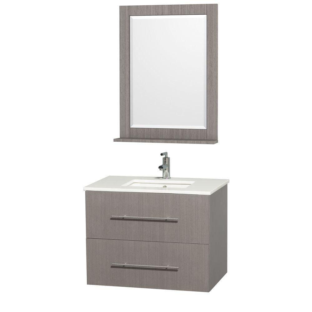 Centra 30-inch W Vanity in Grey Oak with Stone Top in White and White Square Sink