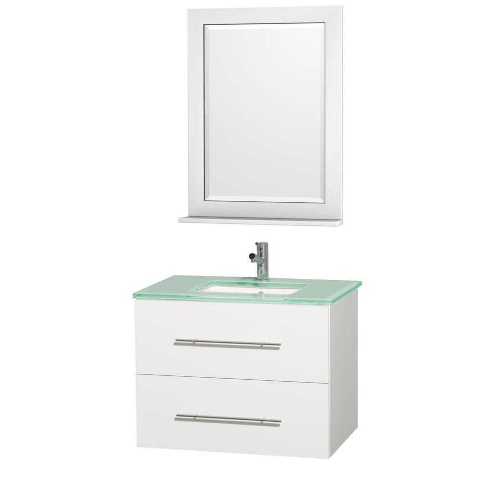 Centra 30-inch W Vanity in White with Glass Top in Aqua and Square Porcelain Sink