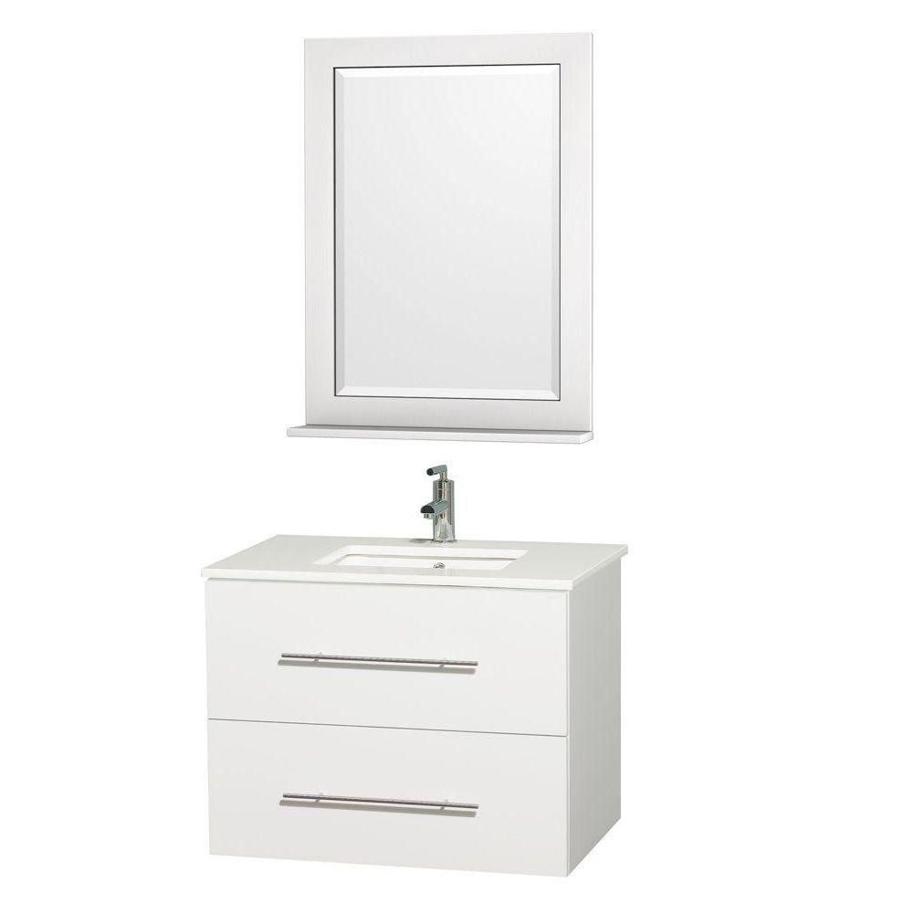 Centra 30-inch W Vanity in White with Stone Top in White and White Square Sink