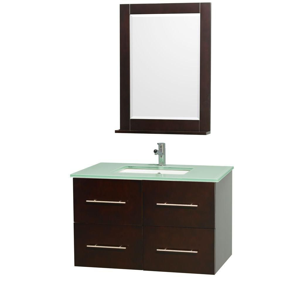 Centra 36-inch W Vanity in Espresso with Glass Top in Aqua and Square Porcelain Sink