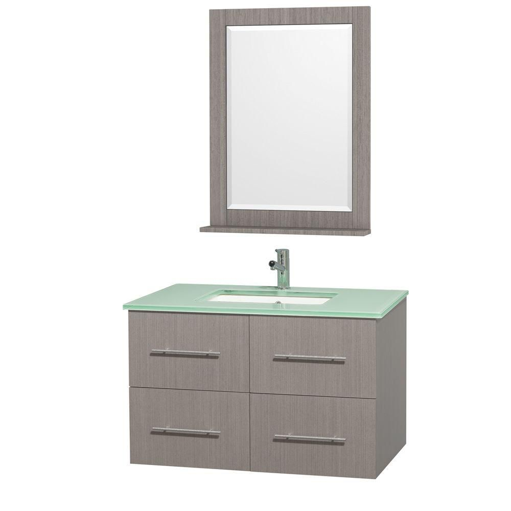 Centra 36-inch W Vanity in Grey Oak with Glass Top in Aqua and Square Porcelain Sink