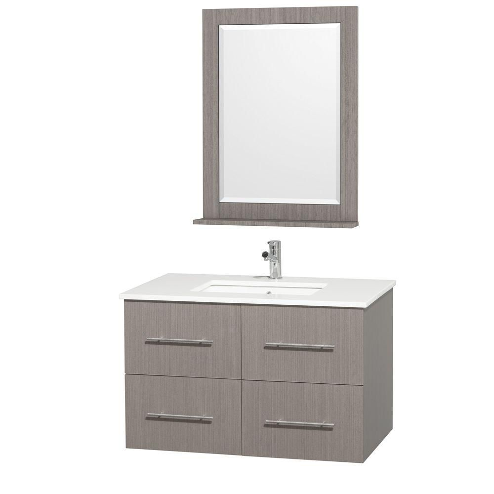Centra 36-inch W Vanity in Grey Oak with Stone Top in White and White Square Sink