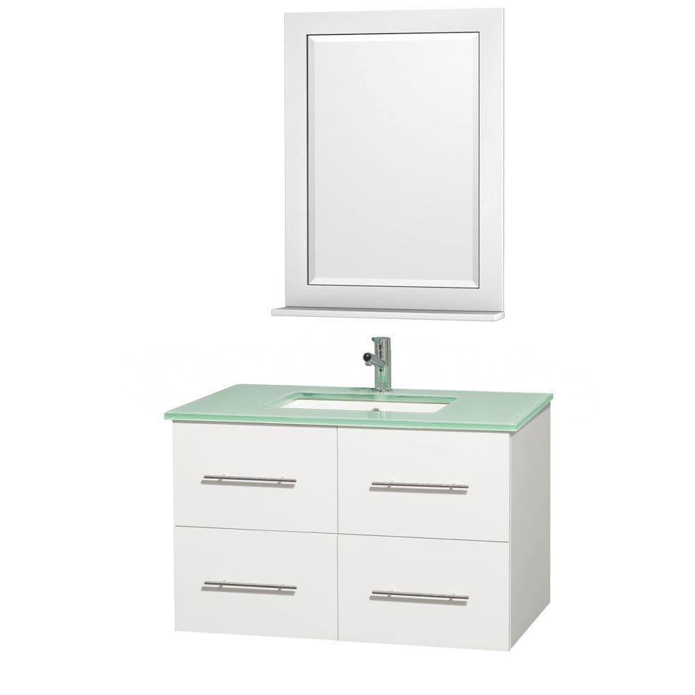Centra 36-inch W Vanity in White with Glass Top in Aqua and Square Porcelain Sink