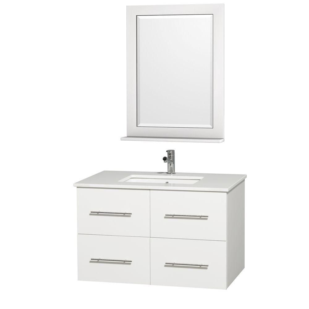 Centra 36-inch W Vanity in White with Stone Top in White and White Square Sink