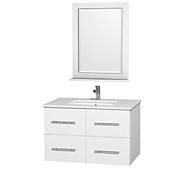 Wyndham Collection Centra 36-inch W 2-Drawer 2-Door Wall Mounted Vanity in White With Artificial Stone Top in White