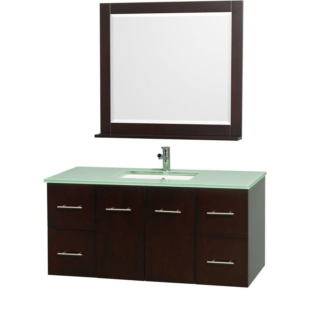Centra 48-inch W Vanity in Espresso with Glass Top in Aqua and Square Porcelain Sink
