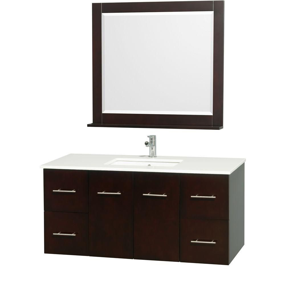 Centra 48-inch W 4-Drawer 2-Door Wall Mounted Vanity in Brown With Artificial Stone Top in White