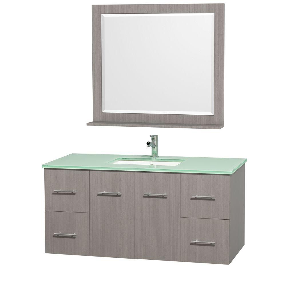Centra 48-inch W Vanity in Grey Oak with Glass Top in Aqua and Square Porcelain Sink