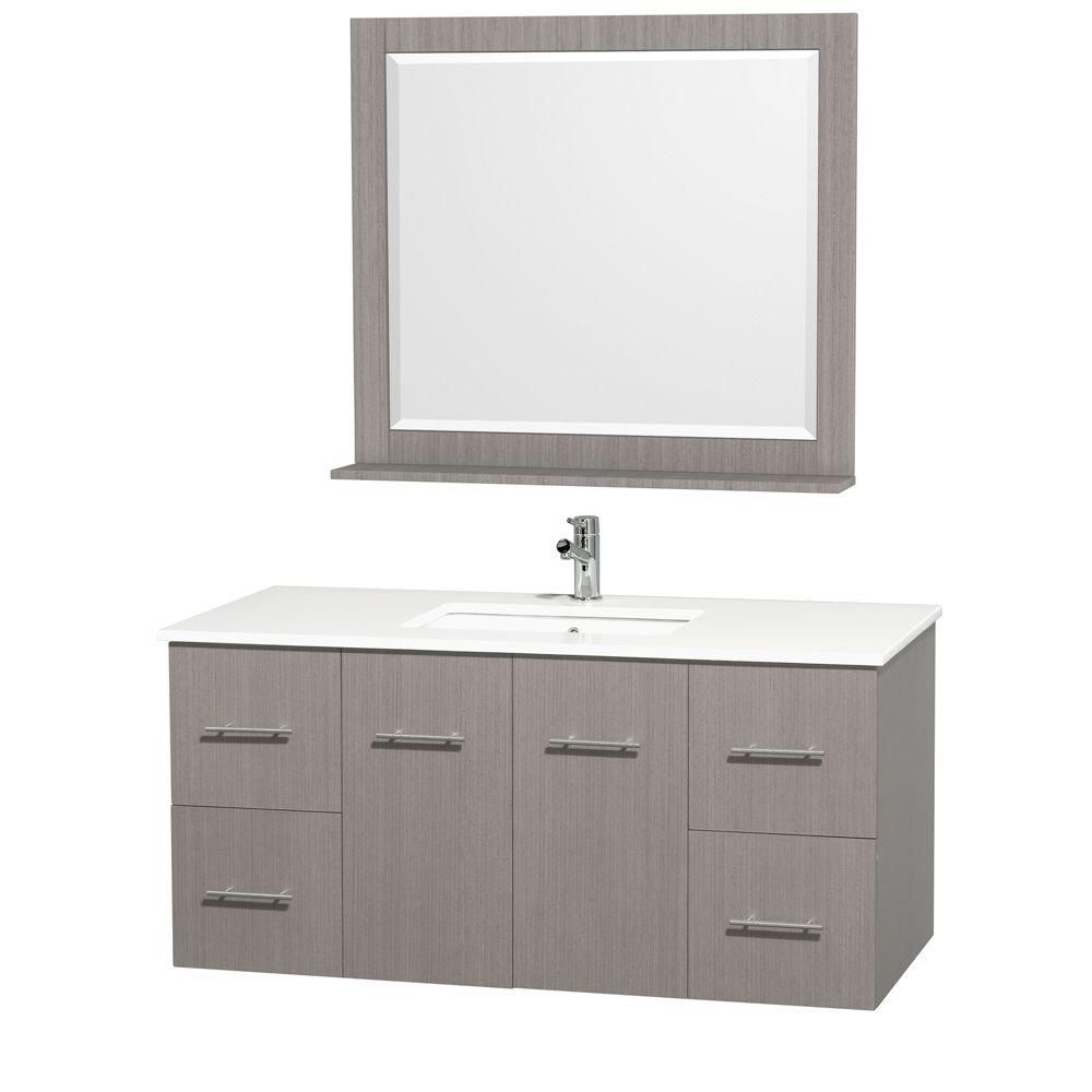Centra 48-inch W Vanity in Grey Oak Finish with Stone Top in White and Square Sink