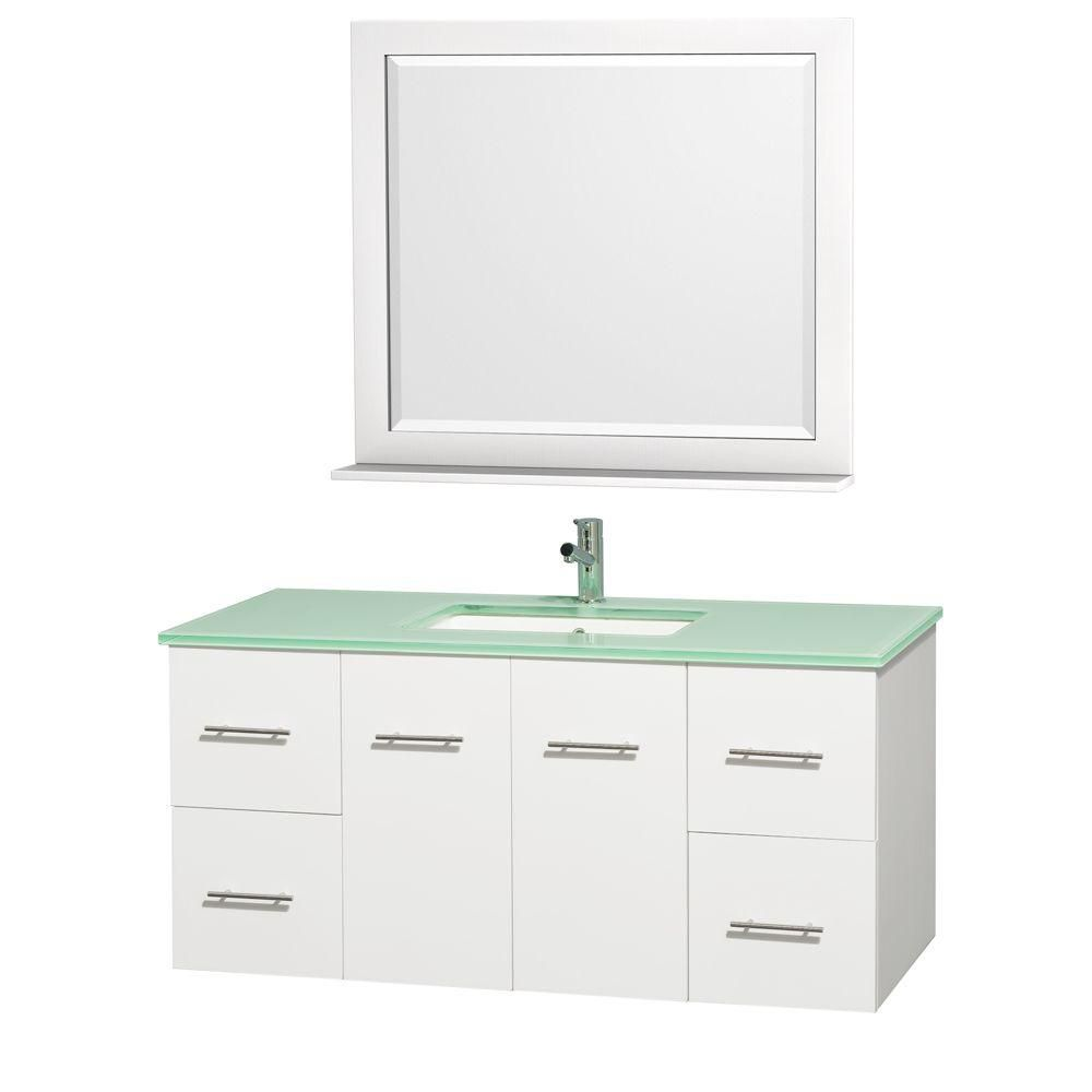 Centra 48-inch W Vanity in White with Glass Top in Aqua and Square Porcelain Sink