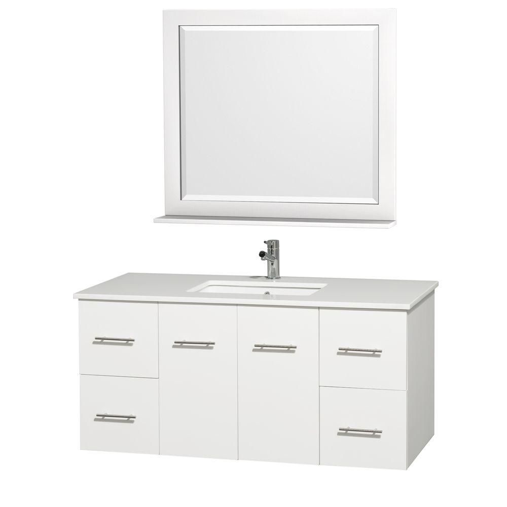 Centra 48-inch W Vanity in White Finish with Stone Top in White and Square Sink