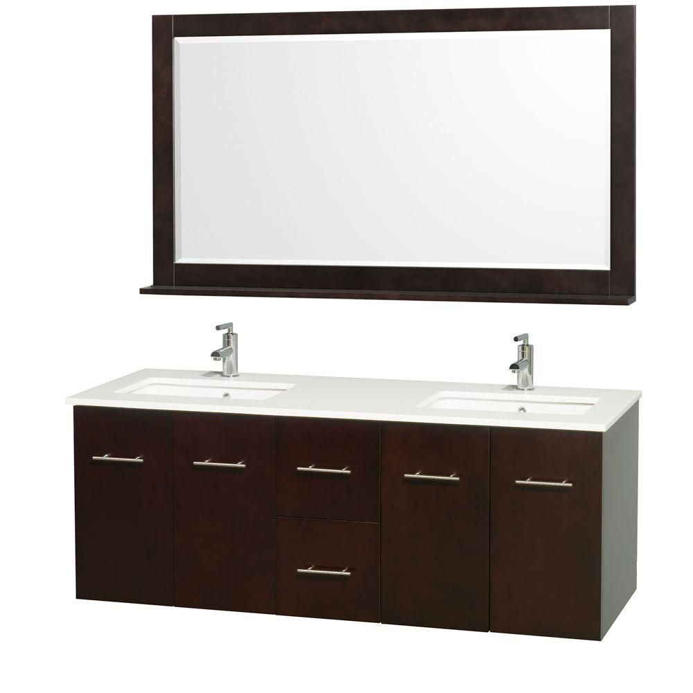 Centra 60-inch W Double Vanity in Espresso with Stone Top in White and White Square Sinks
