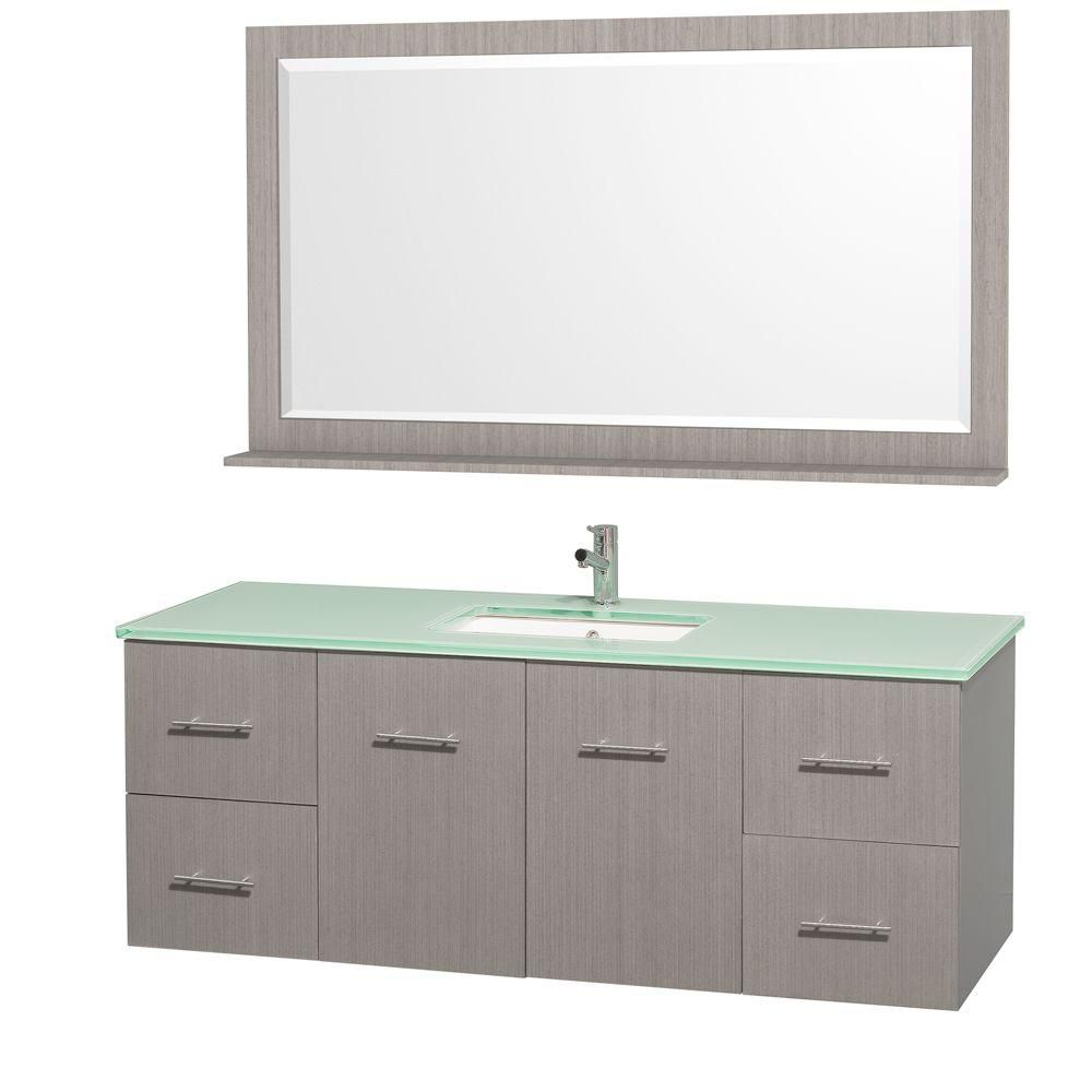 Centra 60-inch W Vanity in Grey Oak with Glass Top in Aqua and Square Porcelain Undermount Sink