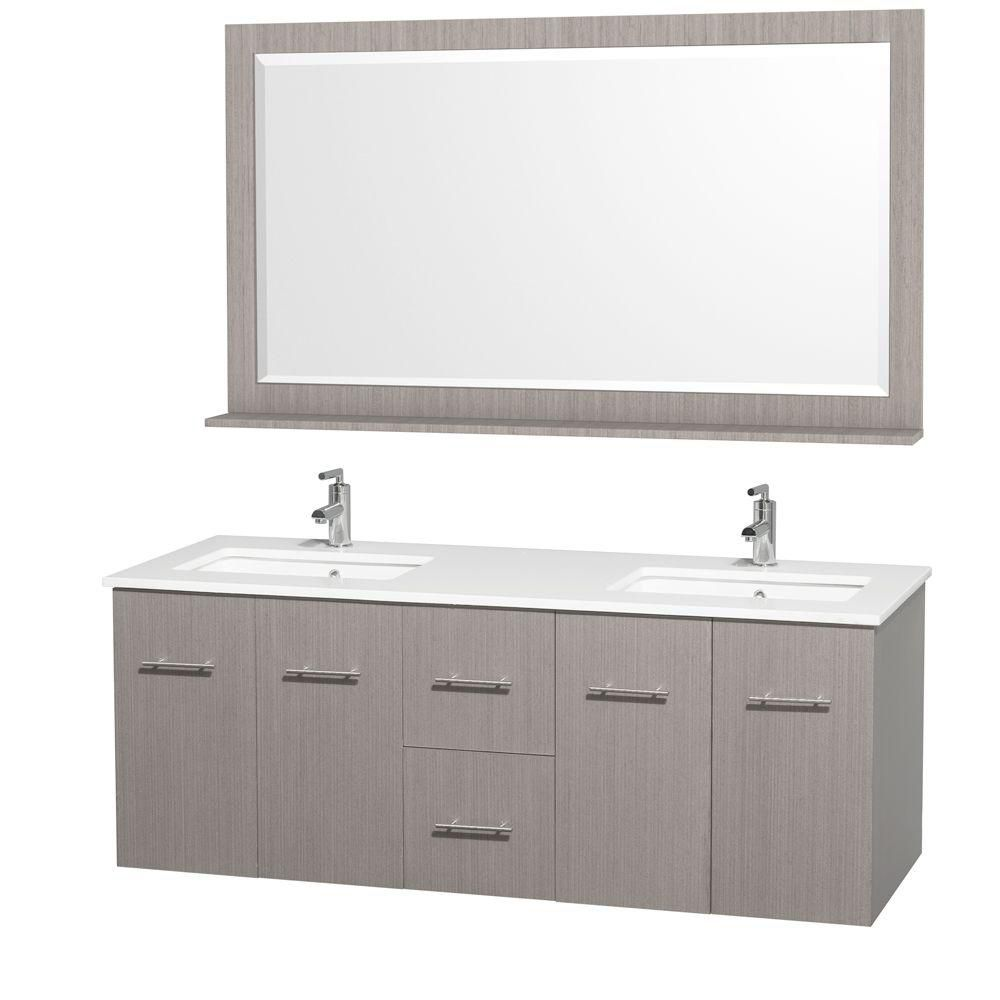 Centra 60-inch W Double Vanity in Grey Oak with Stone Top in White and Square Sinks