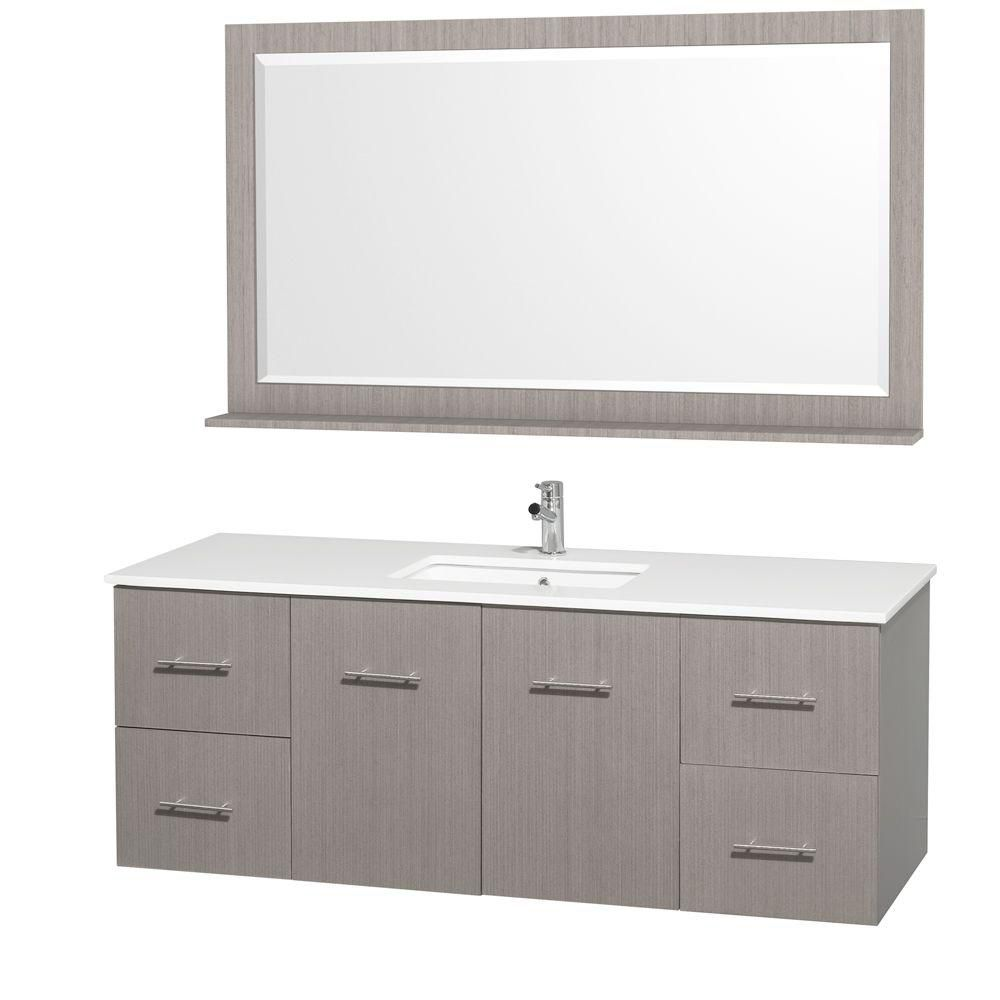 Centra 60-inch W Vanity in Grey Oak with Stone Top in White and White Square Sink