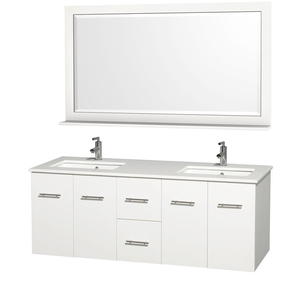 Centra 60-inch W Double Vanity in White with Stone Top in White and Square Sinks