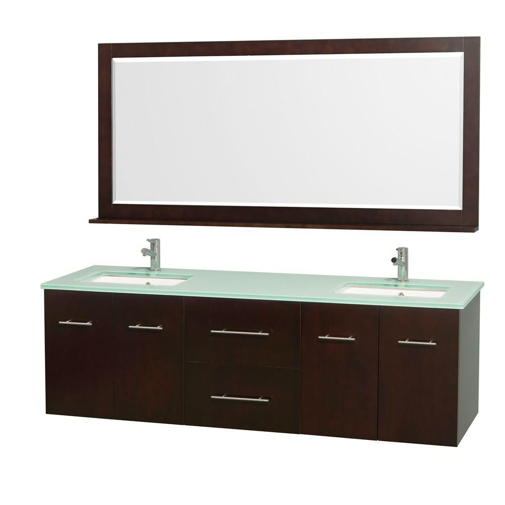 Centra 72-inch W Double Vanity in Espresso with Glass Top in Aqua and White Square Sinks