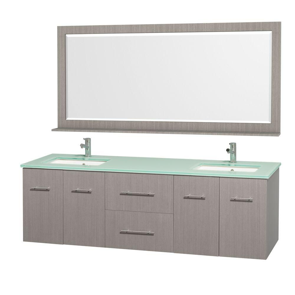 Centra 72-inch W Double Vanity in Grey Oak with Glass Top in Aqua and Square Porcelain Sinks