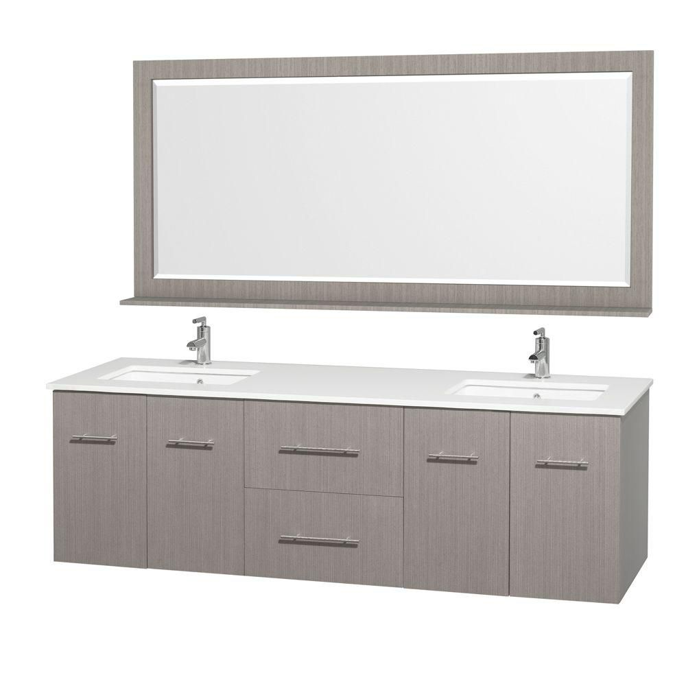 Centra 72-inch W Double Vanity in Grey Oak with Stone Top in White and White Square Sinks