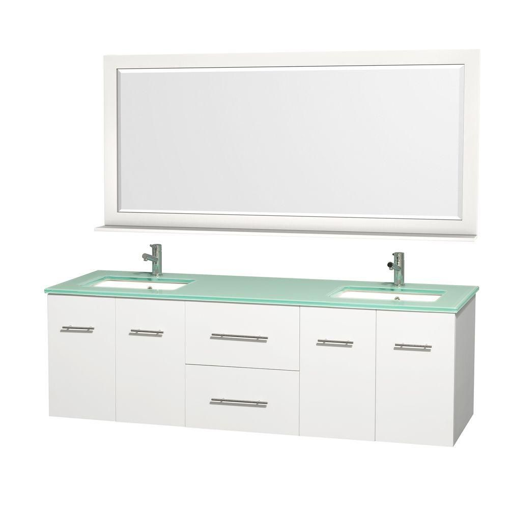 Centra 72-inch W Double Vanity in White with Glass Top in Aqua and Square Porcelain Sinks