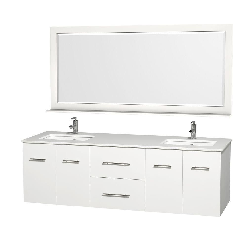 Centra 72-inch W Double Vanity in White with Stone Top in White and White Square Sinks